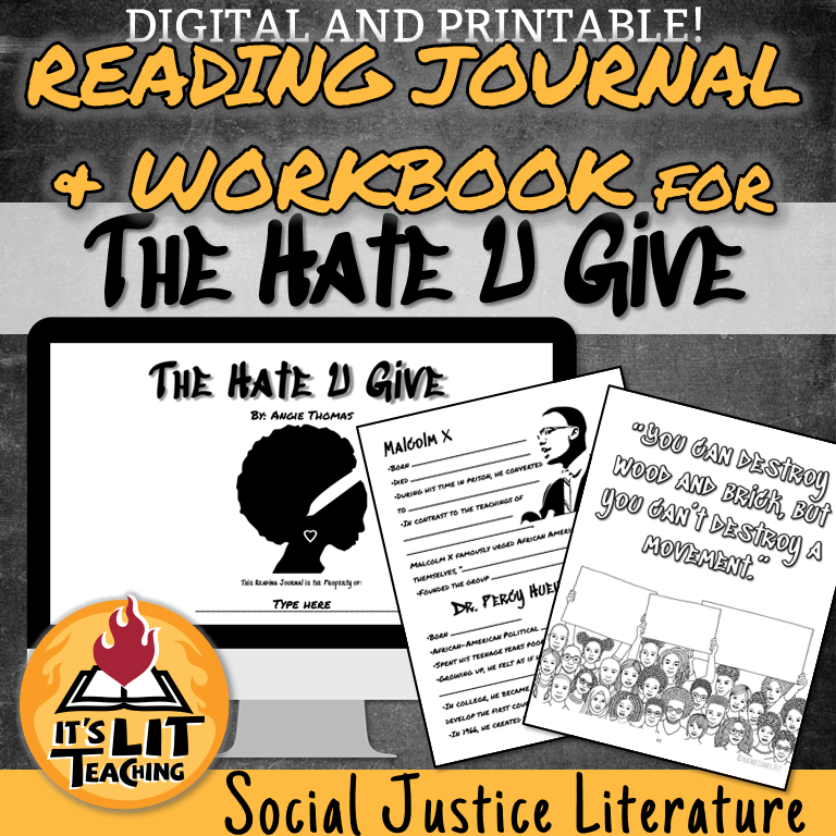 Cover for a Teachers Pay Teachers product: reading journal and workbook for The Hate U Give by Angie Thomas