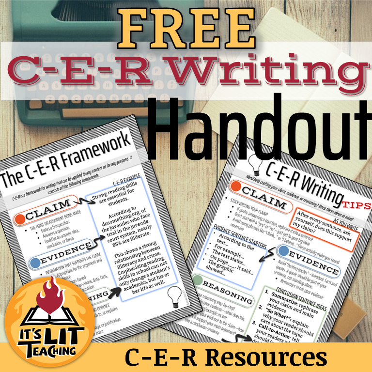 The cover image for the Teachers Pay Teachers product by It's Lit Teaching: FREE C-E-R (claim, evidence, and reasoning) writing handout