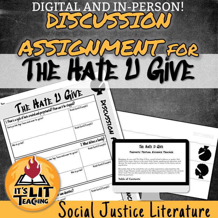 Teachers Pay Teachers Product Cover: The Hate U Give Discussion Assignment