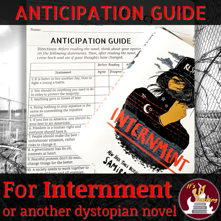 Cover for Teachers Pay Teachers Product: FREE Anticipation Guide for Internment or another dystopian novel