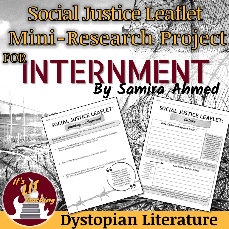 Cover for Teachers Pay Teachers product: Social Justice Mini-Research Project for Internment by Samira Ahmed