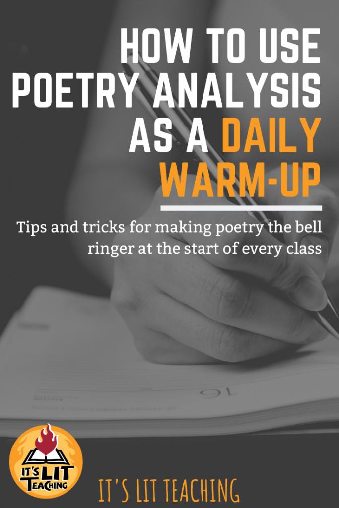 Pinterest Pin for blog post: How To Use Poetry Analysis as a Daily Warm-up