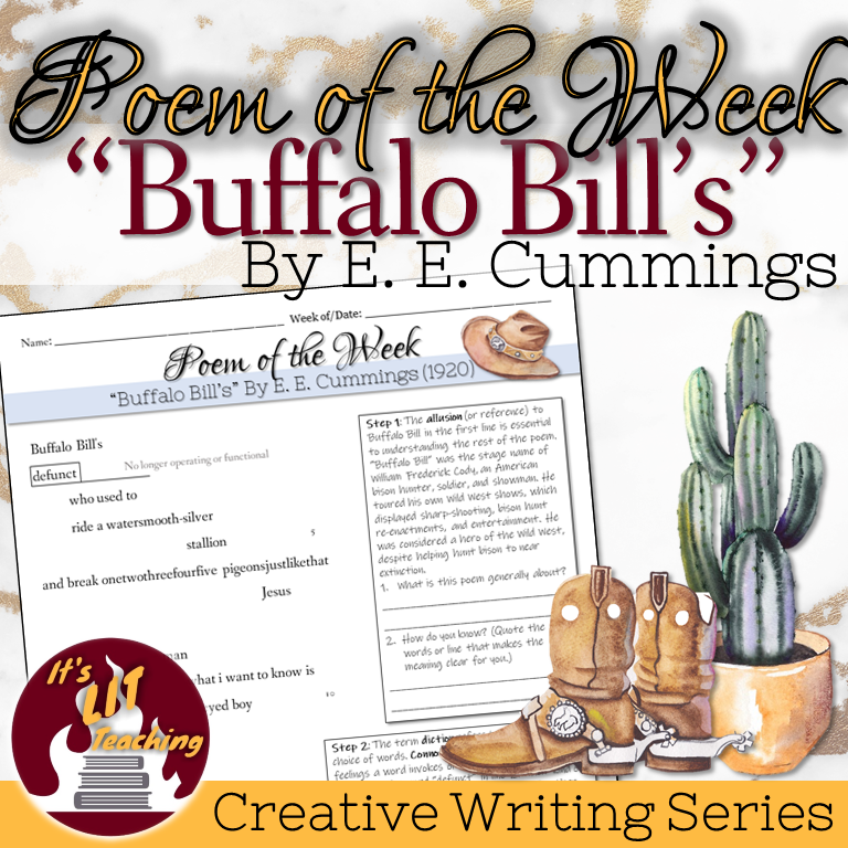 Cover of It's Lit Teaching Product: Poem of the Week: Buffalo Bill's by E. E. Cummings