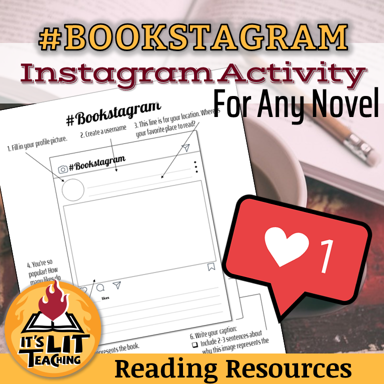 Cover for It's Lit Teaching Teachers Pay Teachers Resource: #Bookstagram Instagram Activity For Any Novel