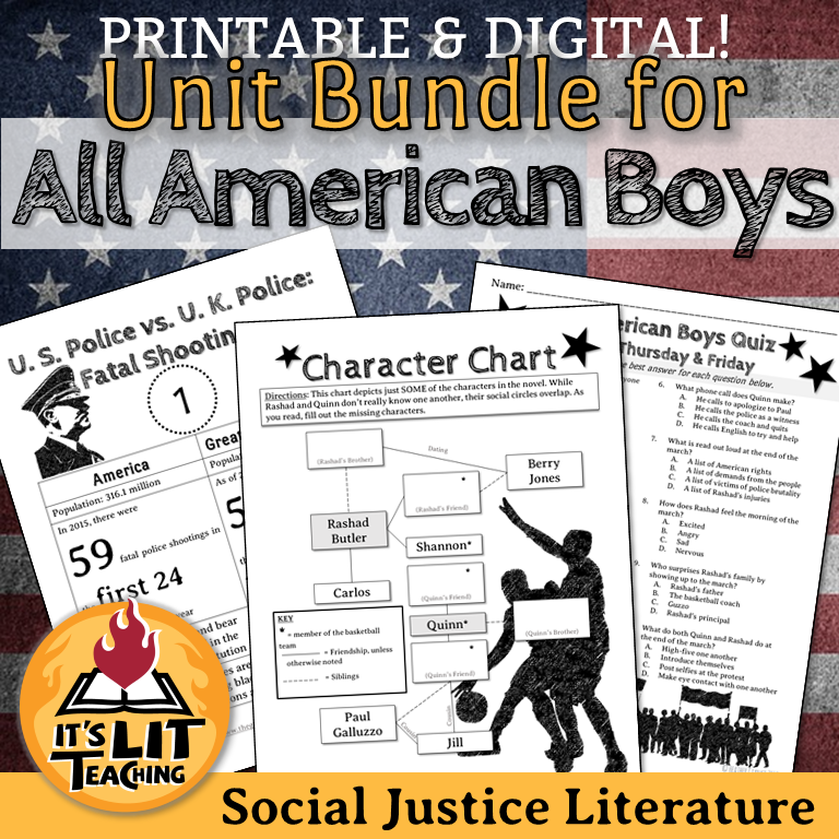 Cover for It's Lit Teaching's Teachers Pay Teachers Product: All American Boys Full Unit Bundle