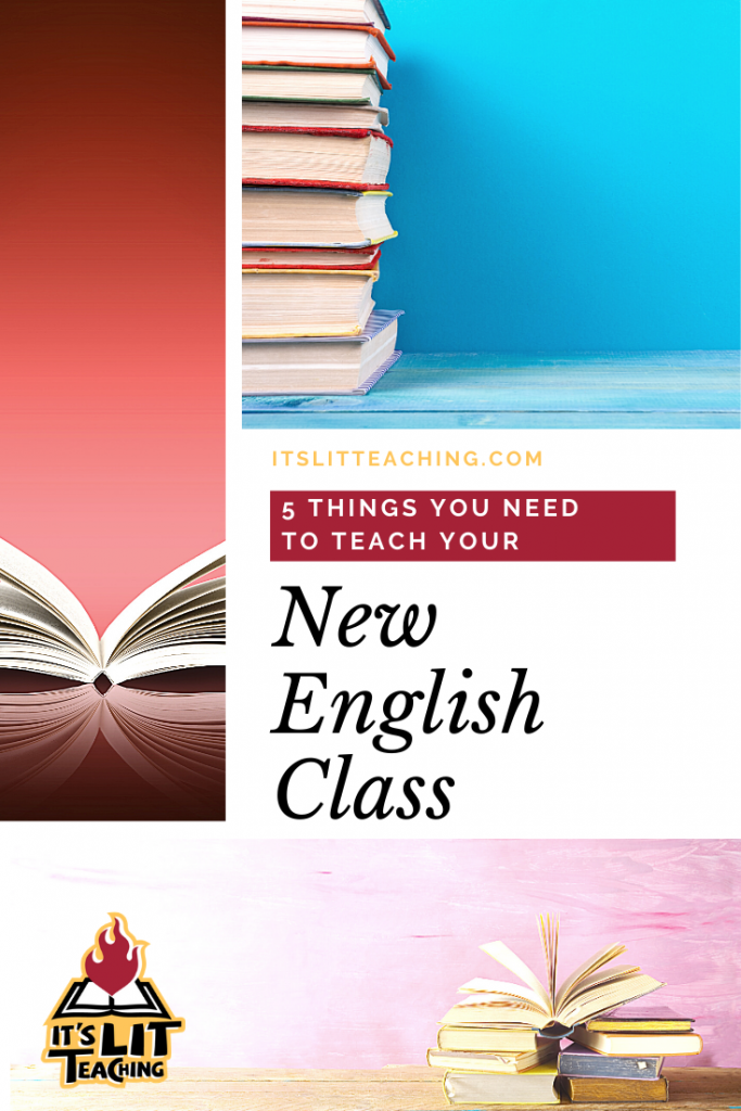 "Pinterest Cover for It's Lit Teaching blog post: ""5 Things You Need to Teach Your New English Class"""