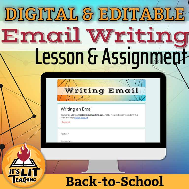 Cover of Teachers Pay Teachers product from It's Lit Teaching: Digital and Editable Email Writing Lesson and Assignment