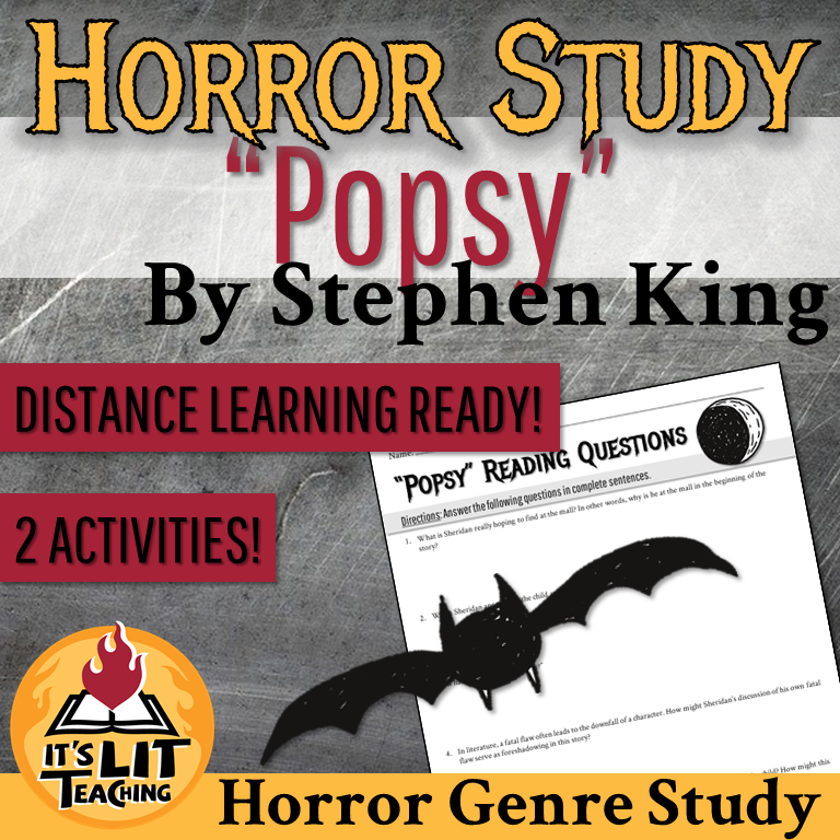 """Thumbnail for It's Lit Teaching TPT resource: """"Popsy"""" by Stephen King Horror Study 2 Activities"""
