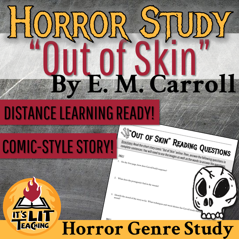 """Thumbnail for It's Lit Teaching TPT resource: """"Out of Skin"""" by E. M. Carroll Horror Study Story Activities"""