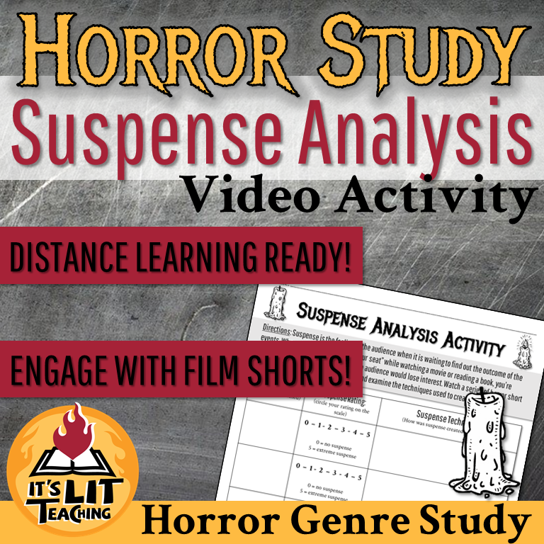 Cover for It's Lit Teaching Teachers Pay Teachers cover: Suspense Analysis Horror Shorts Video Activity