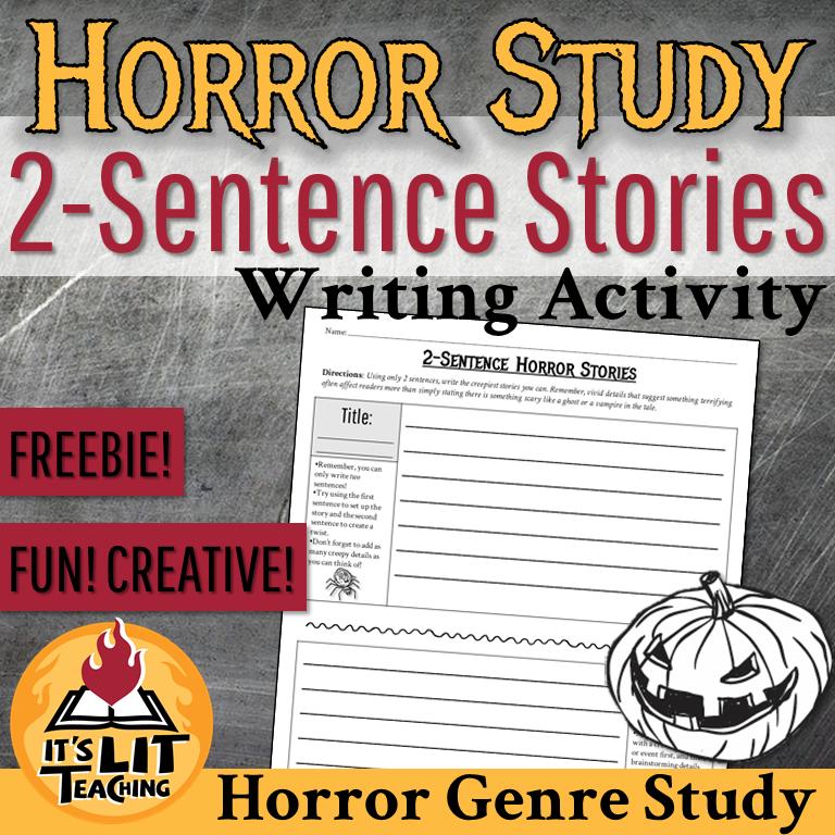 FREE It's Lit Teaching TPT Resource: 2-Sentence Horror Stories Writing Activity