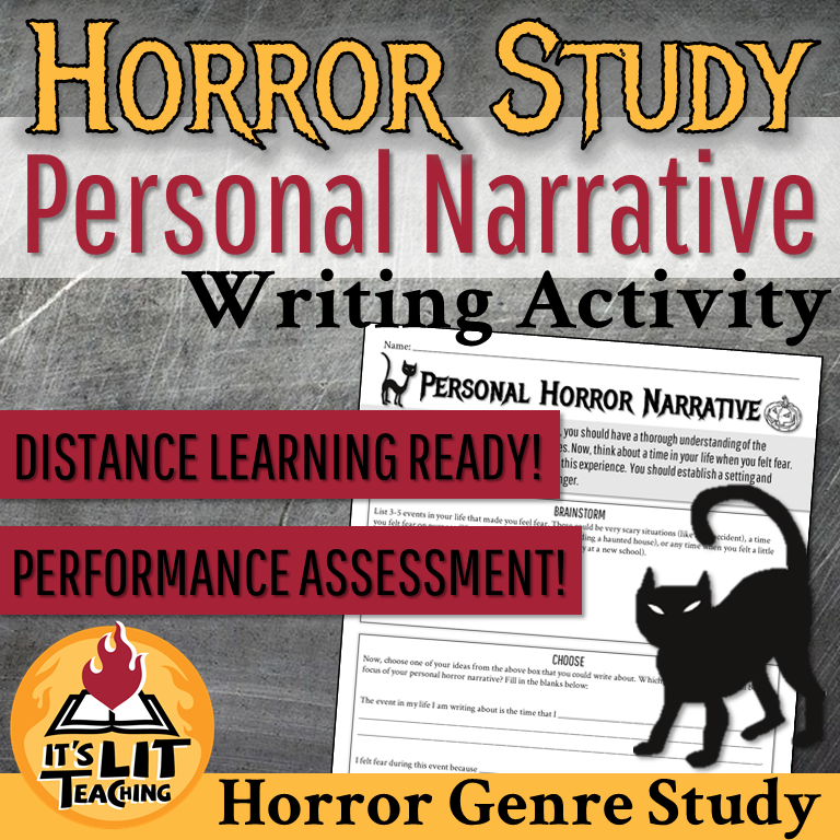 Thumbnail for It's Lit Teaching TPT resource: Horror Genre Study Horror Personal Narrative Writing Activity