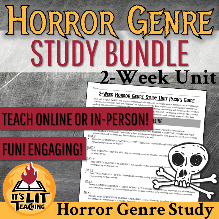 Cover for Teachers Pay Teachers Product: Horror Genre Study Bundle
