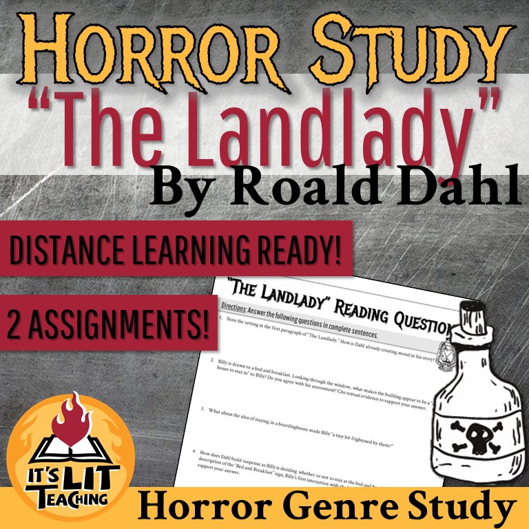 "Cover for Teachers Pay Teachers Product: ""The Landlady"" by Roald Dahl Horror Short Story Study"