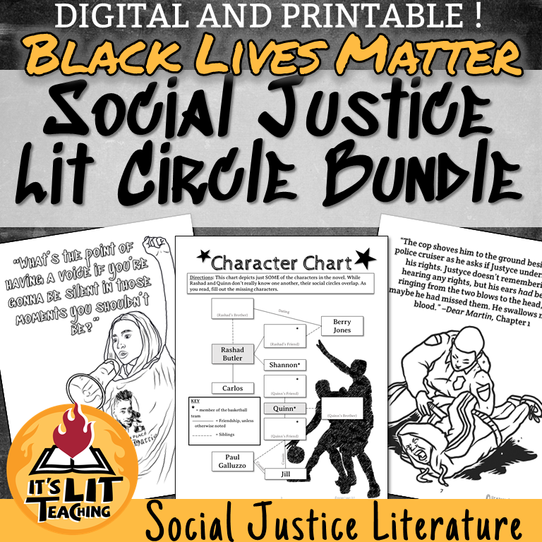 Teachers Pay Teachers Cover for It's Lit Teaching resource: Black Lives Matter Social Justice Lit Circle Bundle
