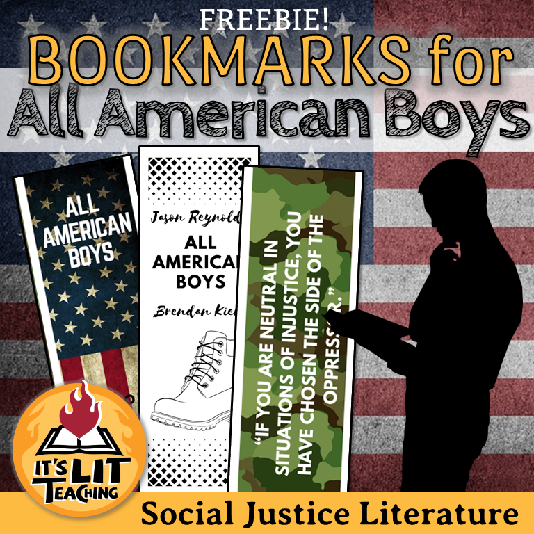 Cover for It's Lit Teaching Teachers Pay Teachers product: FREE All American Boys Bookmarks