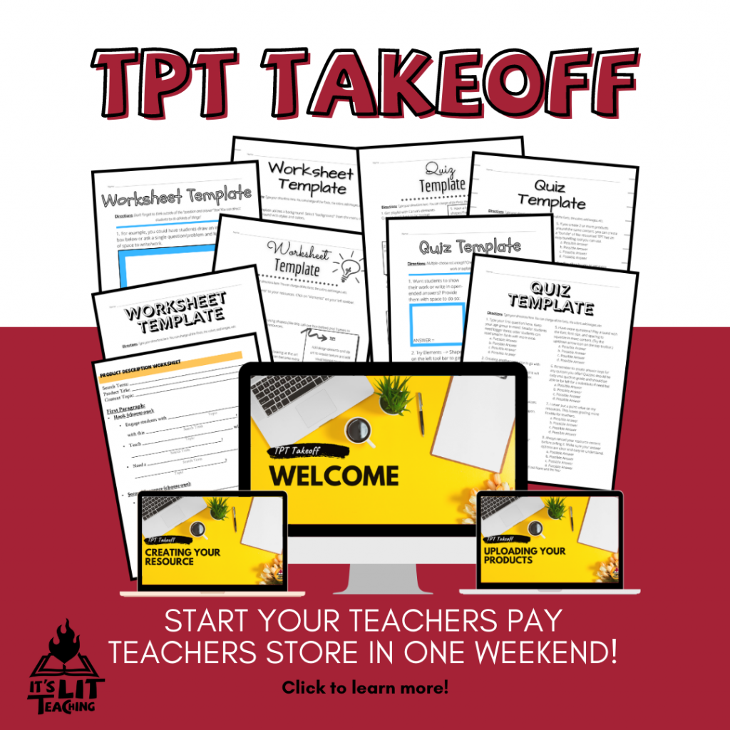 Square image advertising TPT Takeoff, a Teachers Pay Teachers mini-course from It's Lit Teaching